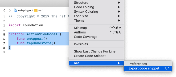 How to export code selection using nef plugin