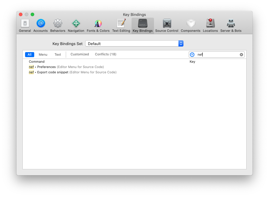 nef Xcode extension: Associate a key binding to nef actions