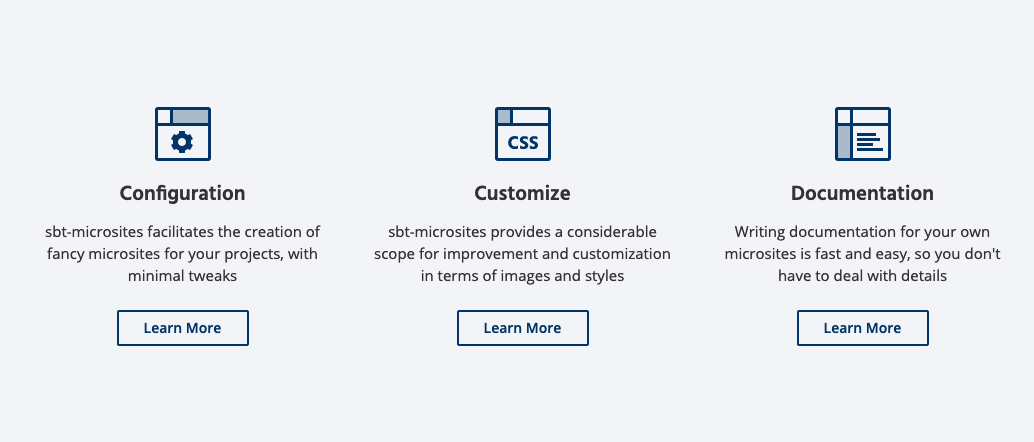 sbt-microsites Features section