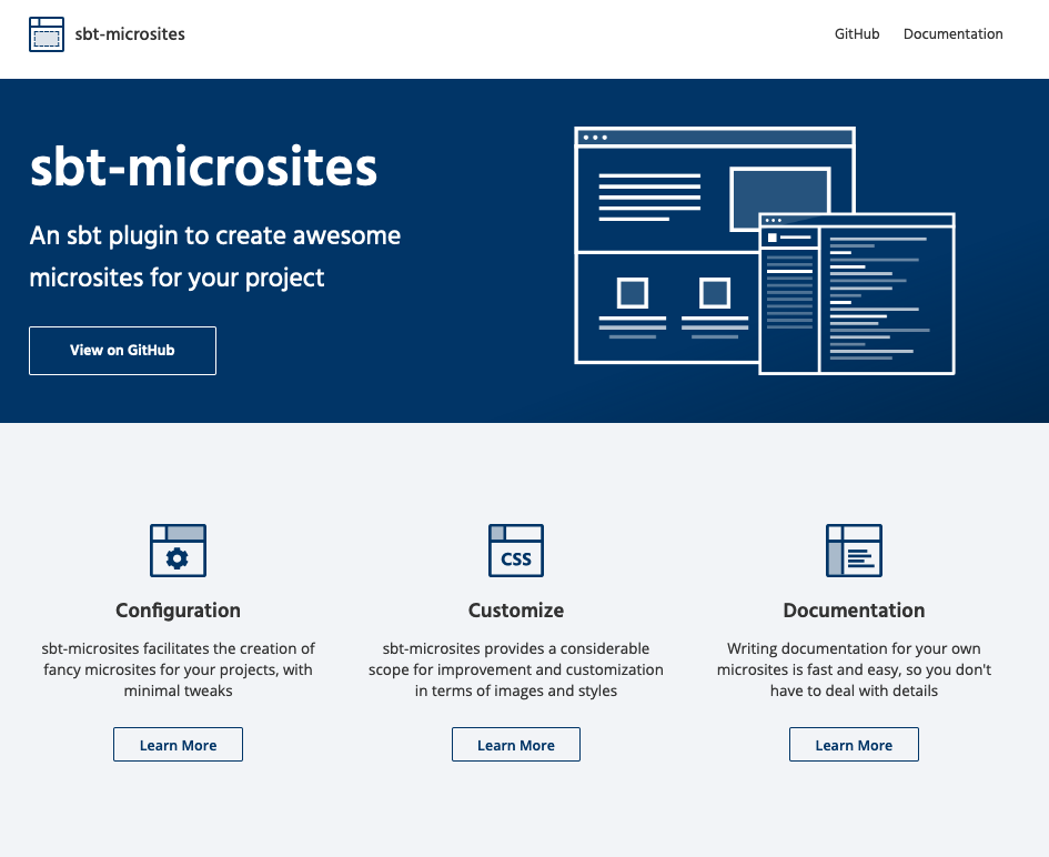 sbt-microsites homeFeatures layout